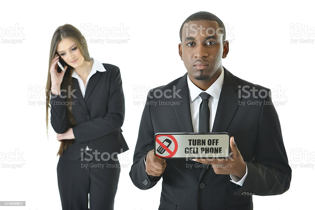 Turn Off Cell Phone (serious) royalty-free stock photo