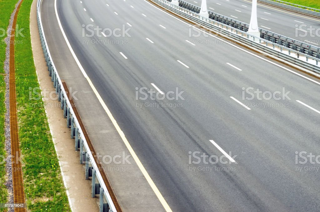 Turn on the multi-lane road without cars stock photo