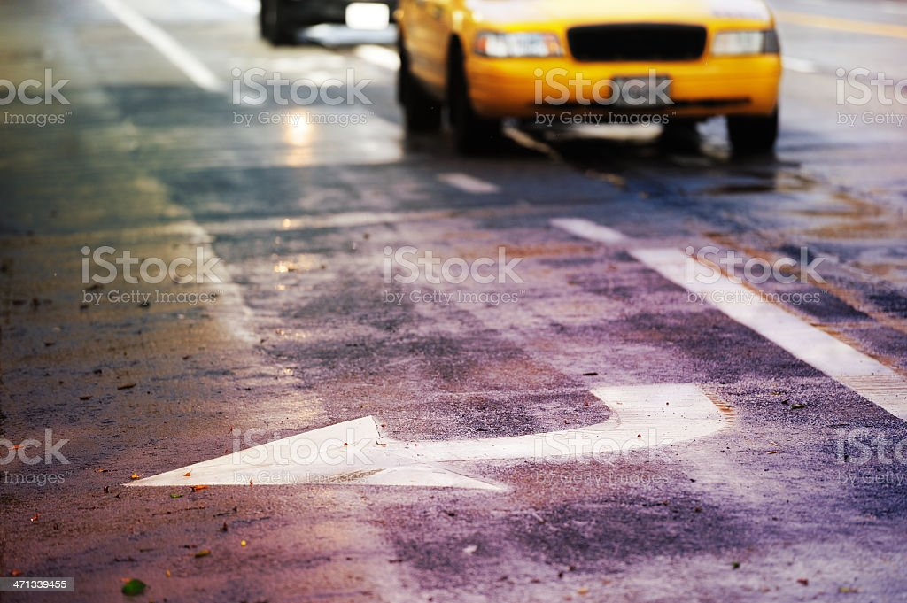 Turn right arrow painted on street royalty-free stock photo