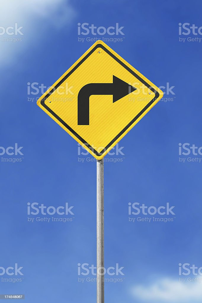 turn right road sign royalty-free stock photo