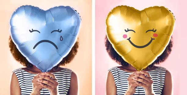 turn that frown upside down - mulher balões imagens e fotografias de stock