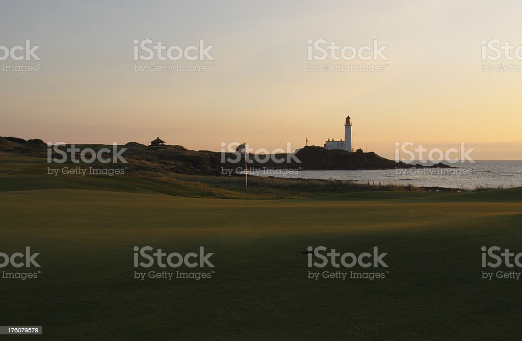 Turnberry basking in warm evening sunlight. stock photo
