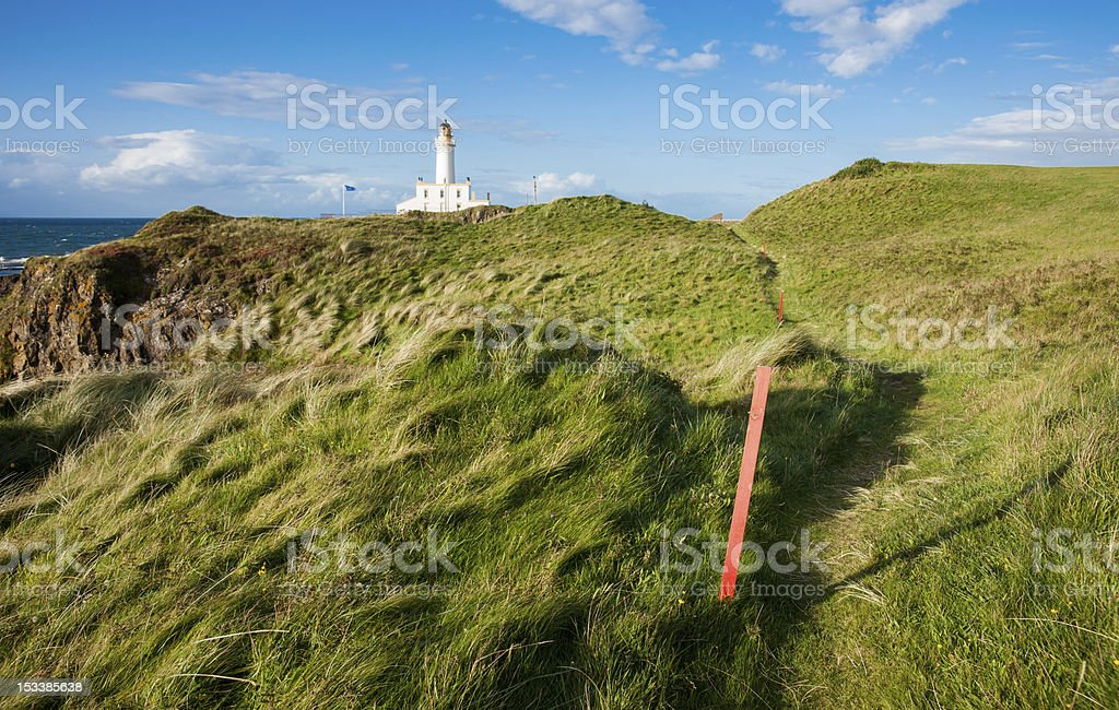 Turnberry Lighthouse, Ayrshire, across the golf course stock photo