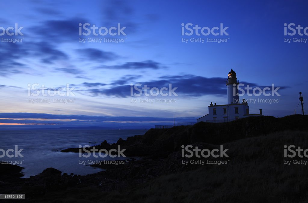 Turnberry Lighthouse on the Ayrshire coast at dusk. stock photo
