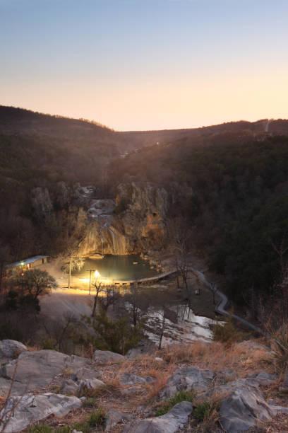 Turner Falls in sunset stock photo