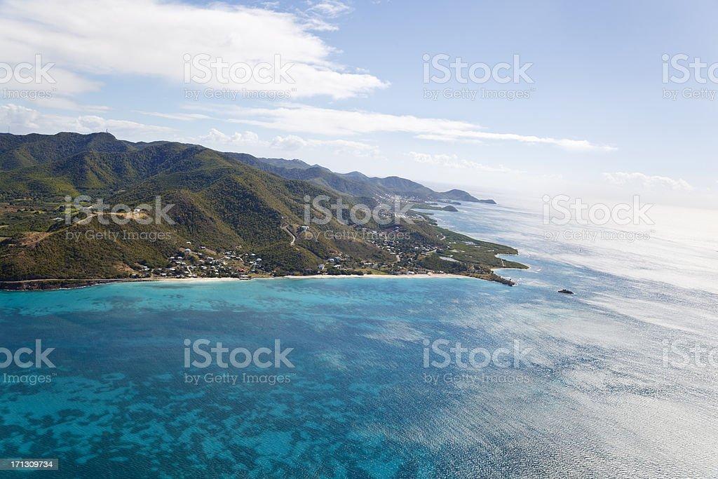 Turners Beach Aerial View, Antigua stock photo