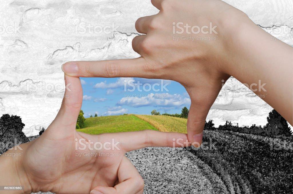 Drehen einer Zeichnung einer Vision in die Realität – Foto