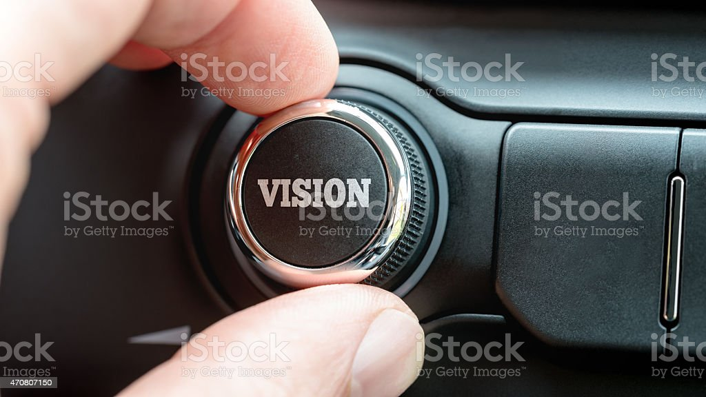 Turning a power button reading - Vision stock photo