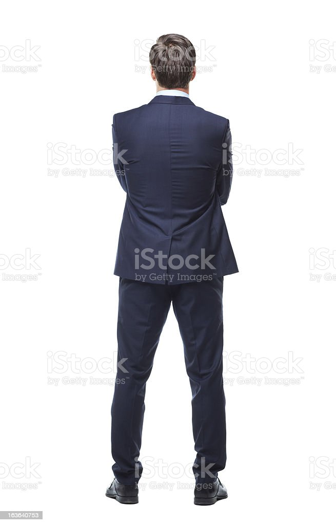 Turning his back on business stock photo