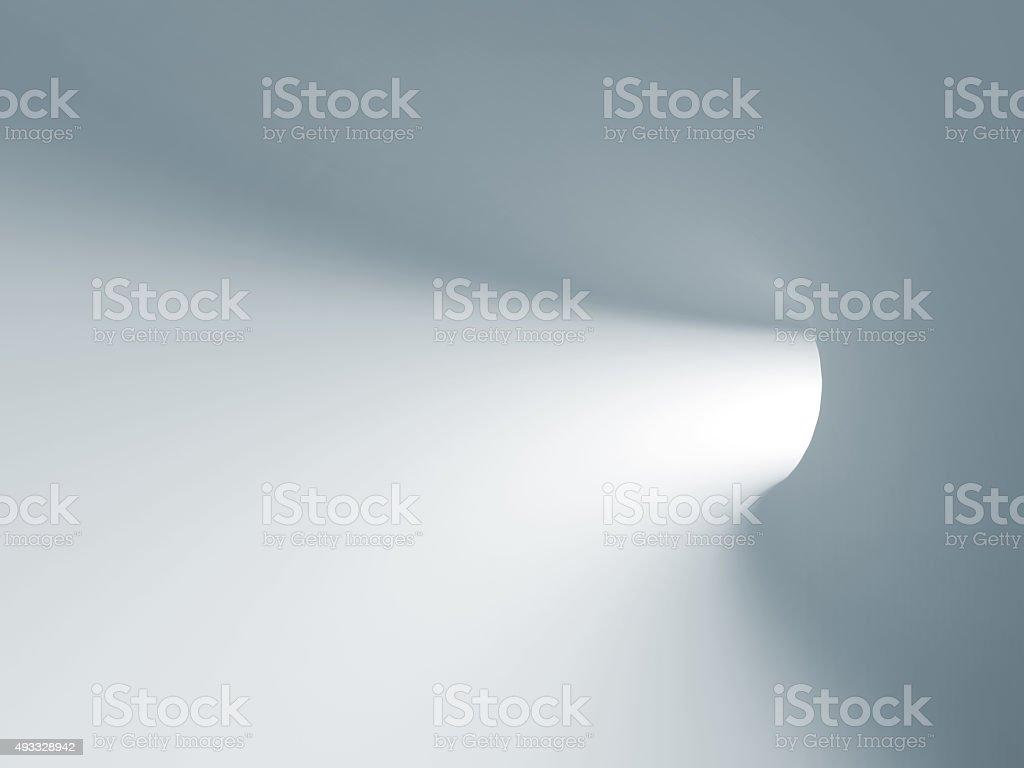 Turning light blue tunnel interior. 3d illustration stock photo