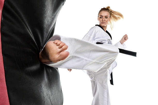 turning motion - martial arts gerville stock photos and pictures