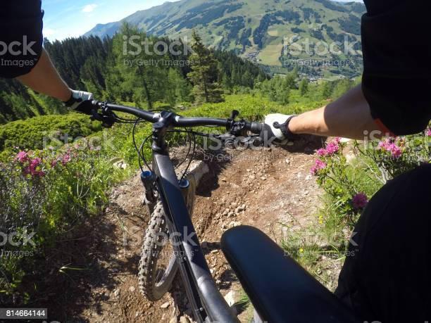Photo of Turning right on mountainbike
