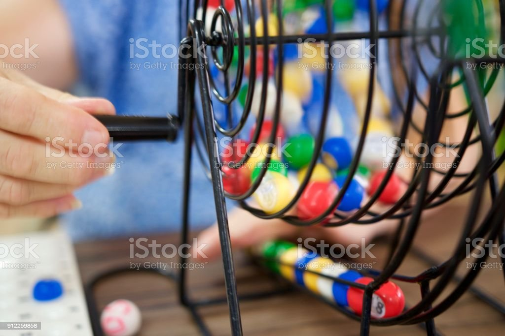 Turning the Bingo wheel stock photo