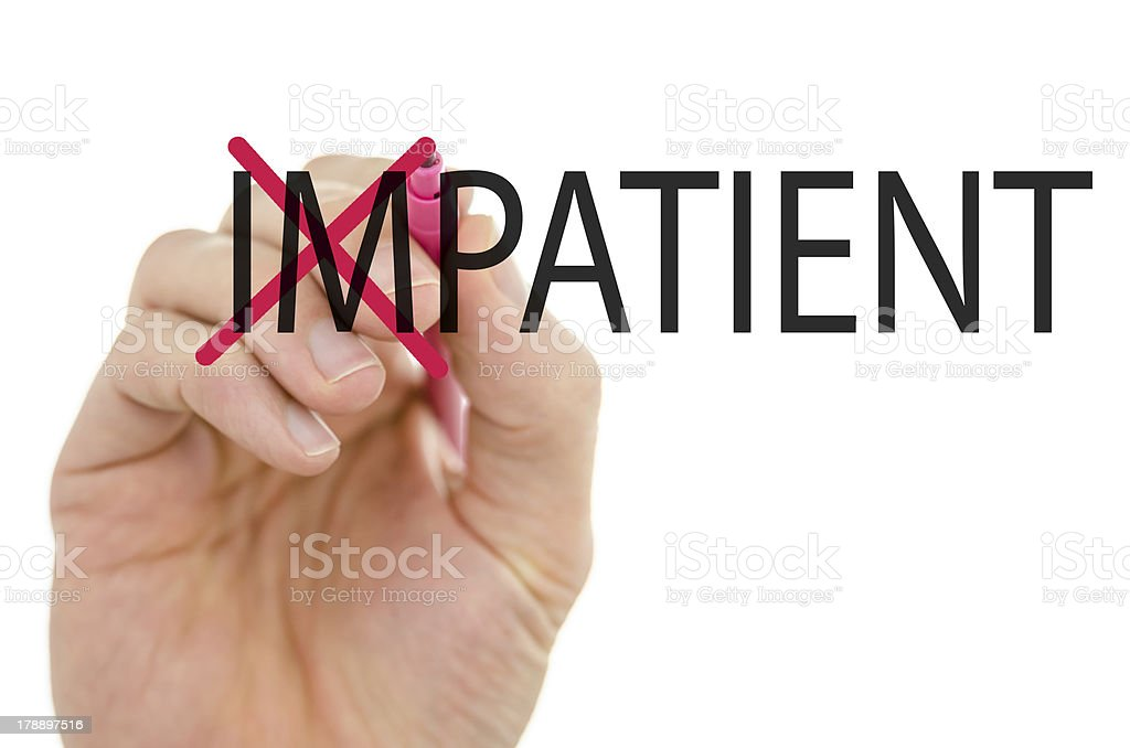 Turning the word Impatient into Patient royalty-free stock photo