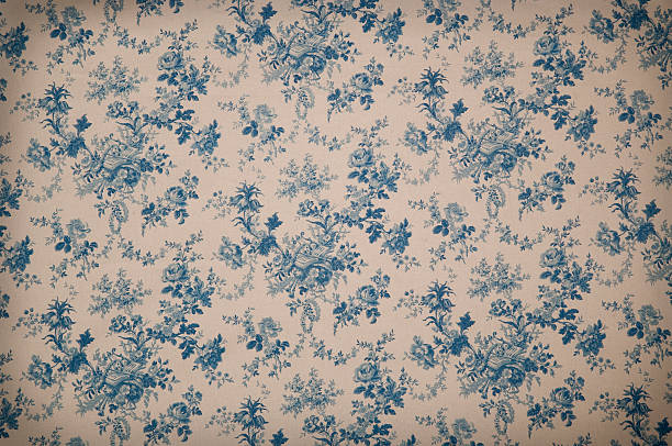 turnsberry toile medium antique fabric - vintage flowers stock photos and pictures