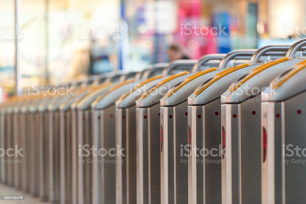 Turnstiles in station stock photo