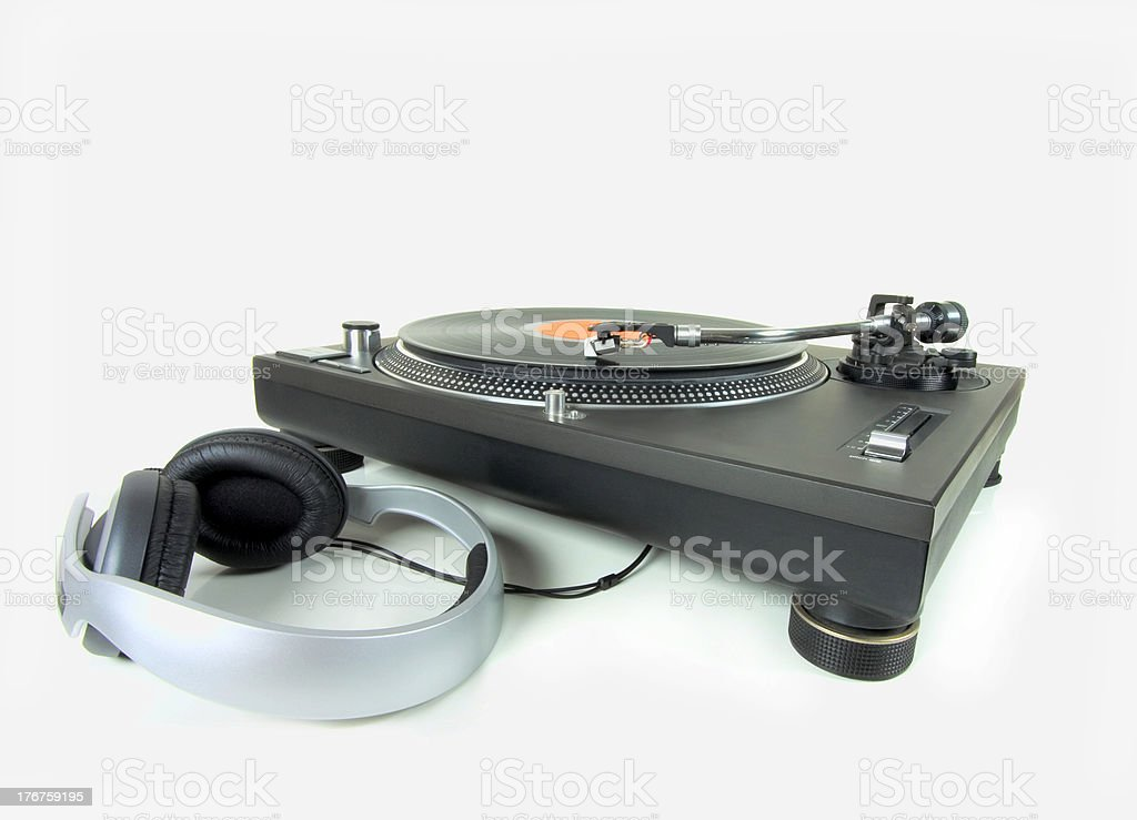 Turntable and headphones royalty-free stock photo