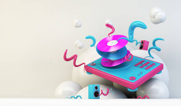 DJ turntable illustration DJ turntable abstract illustration 3d rendering electronic music stock pictures, royalty-free photos & images