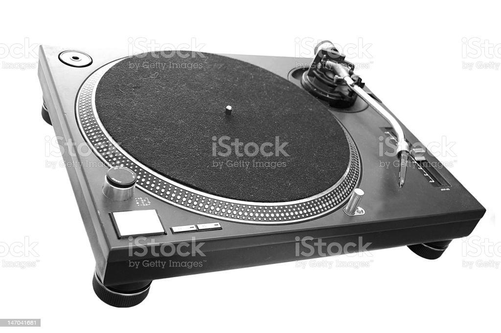 DJ Turntable isolated on white stock photo