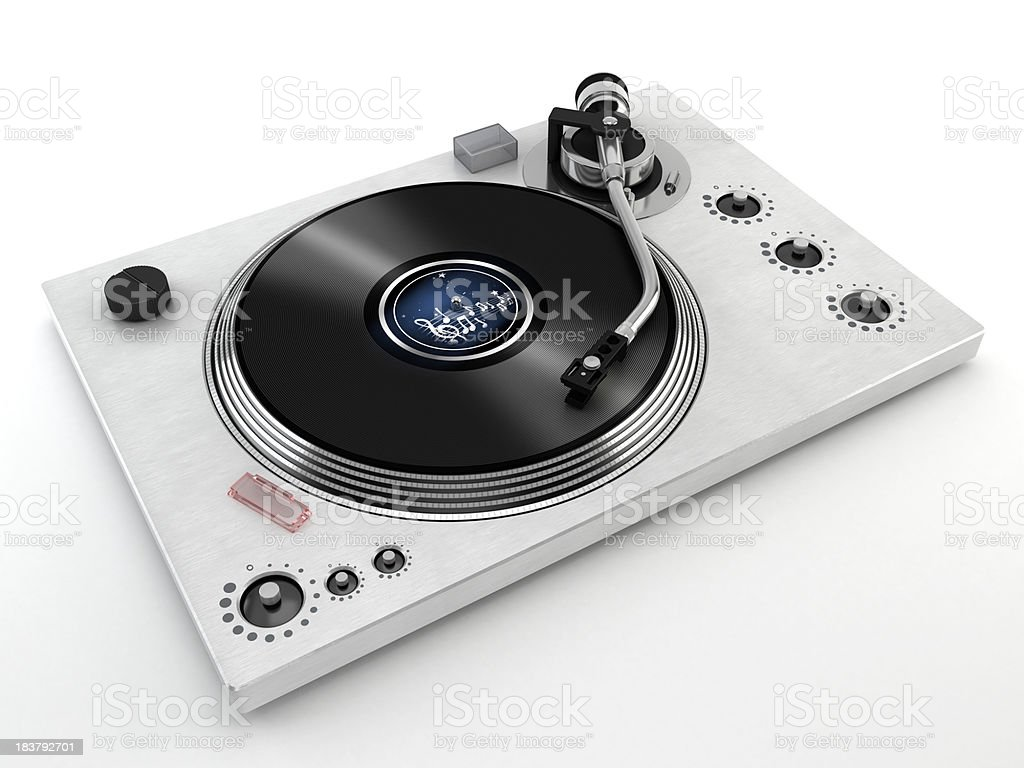 Turntable isolated on white stock photo