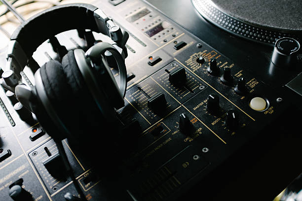 turntable, mixer and headphones - radio dj stock photos and pictures