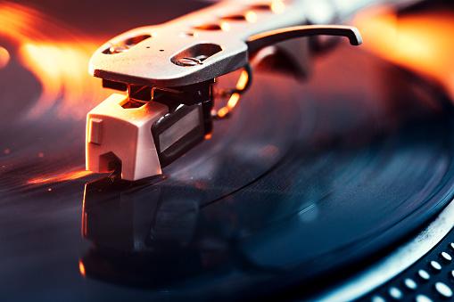 Turntable Needle on Vinyl Closeup