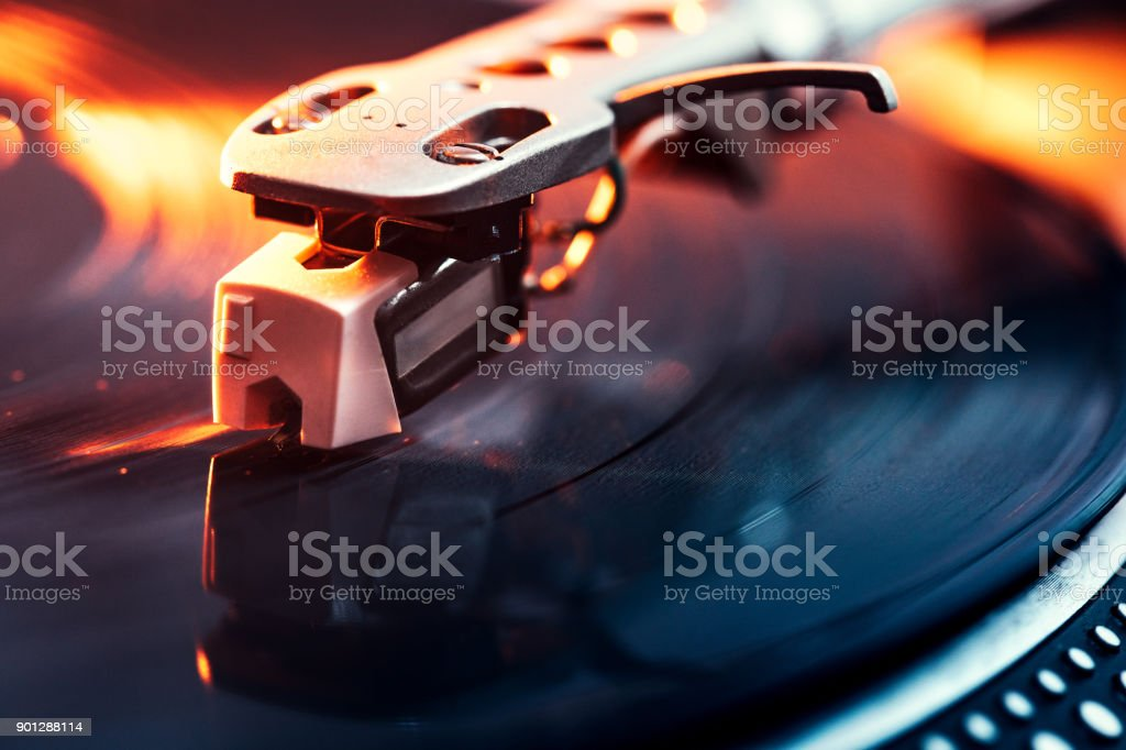 Turntable Needle on Vinyl Closeup stock photo