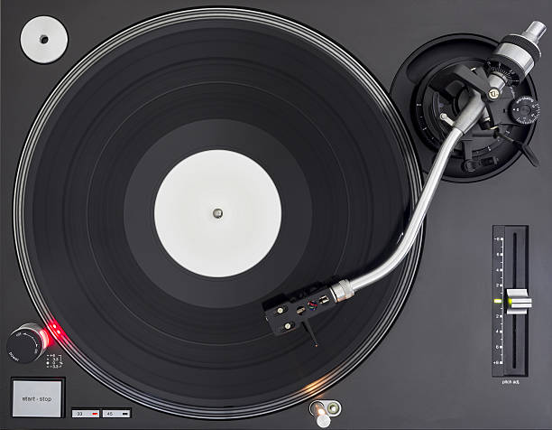 DJ Turntable with Vinyl Record, Playing, Top View - Photo