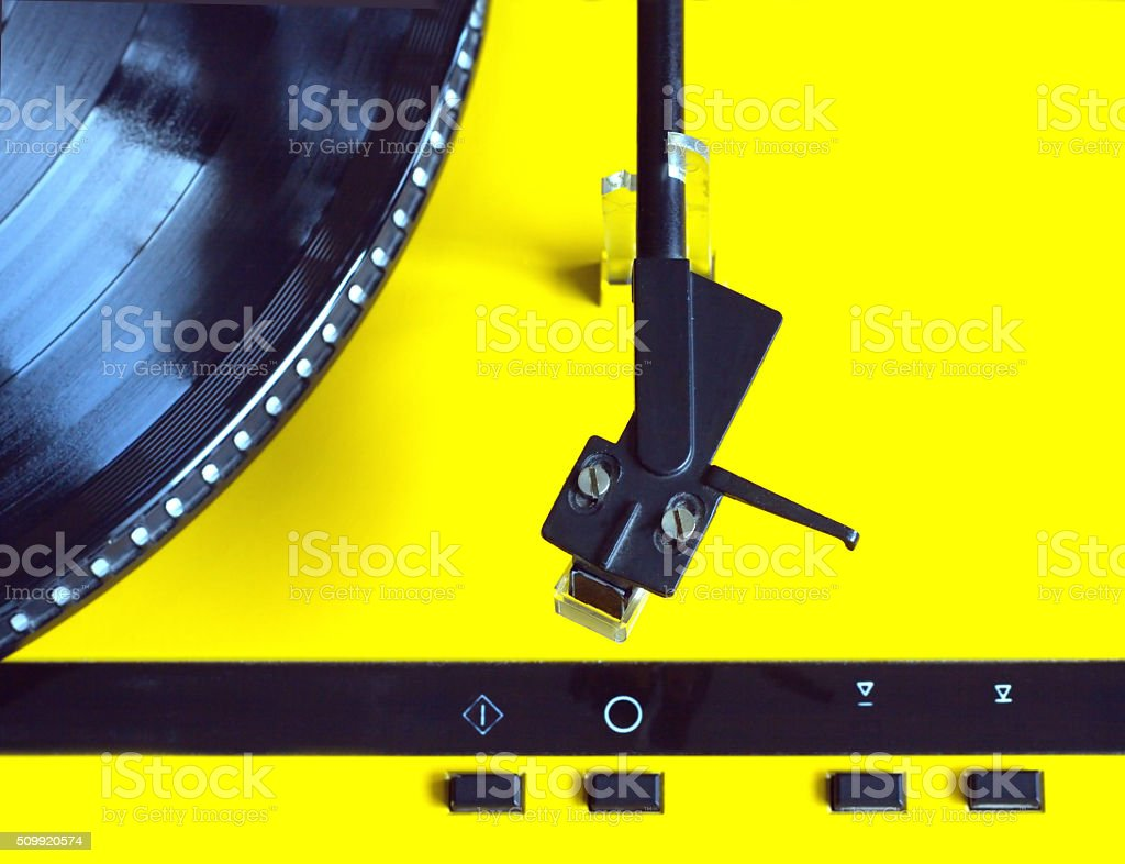 Turntable with vinyl record top view close up stock photo
