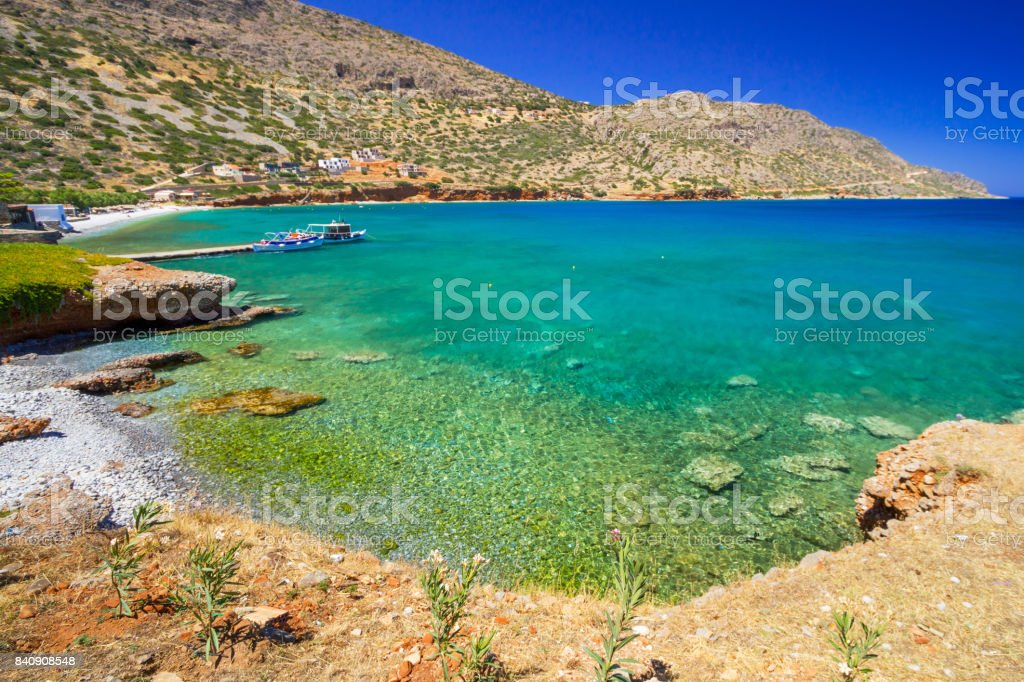 Turquise water of Mirabello bay on Crete stock photo