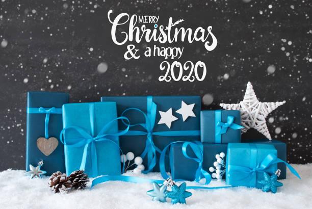 Turquois Geschenk, Schneeflocken, Frohe Weihnachten und eine glückliche 2020, Dekoration – Foto