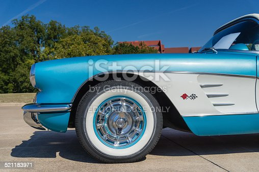 Westlake, Texas, USA - October 18, 2014: A turquoise 1959 Chevrolet Corvette Convertible is on display at the 4th Annual Westlake Classic Car Show. Closeup of front side view.