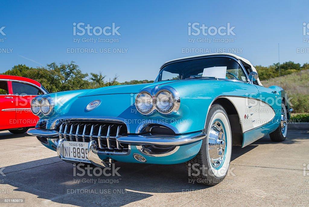 Turquoise 1959 Chevrolet Corvette Convertible classic car stock photo