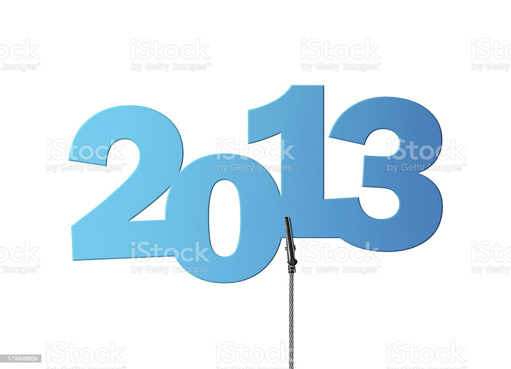 Turquoise 2013 in Wire Clamp (Clipping Path) stock photo