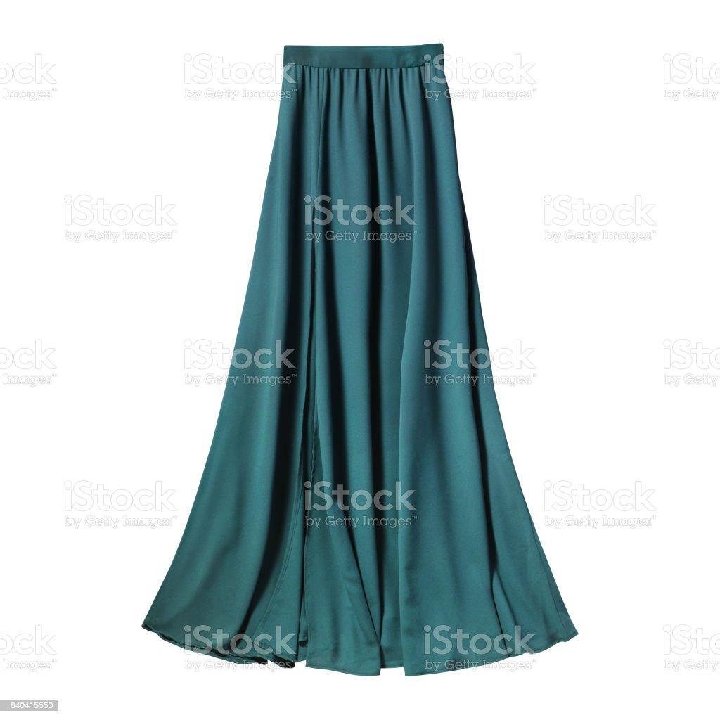 Turquoise airy subtle long elegant maxi skirt isolated white stock photo