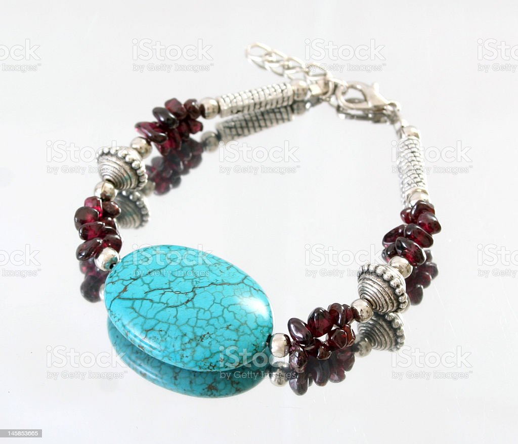turquoise and amethyst silver bracelet royalty-free stock photo