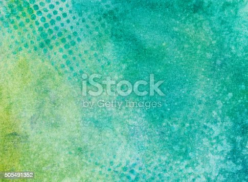 istock Turquoise and chartreuse mottled background with dotted pattern 505491352