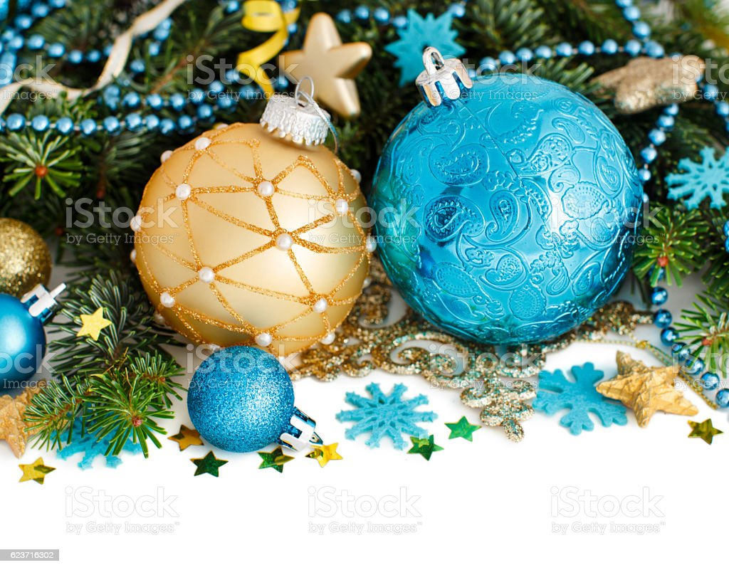 Turquoise And Golden Christmas Ornaments Border Stock Photo Download Image Now Istock