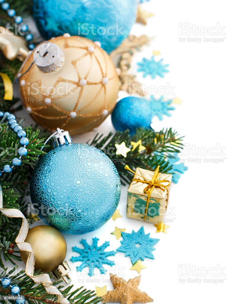 Turquoise and golden Christmas ornaments border stock photo