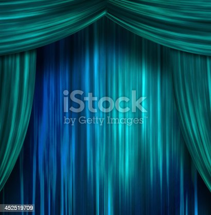 939155332 istock photo Turquoise and royal blue theater curtains undrawn 452519709