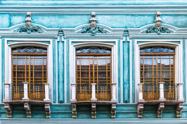 Turquoise Architecture Facade, Cuenca, Ecuador stock photo