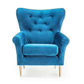 istock Turquoise Arm Chair Isolated on White Background. Front View of Upholstered Wingback Accent Sofa. Classic Tufted Armchair with Wooden Feet Teal Blue Velvet Upholstery. Interior Furniture with Armrests 1199428736