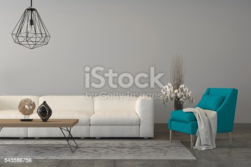 istock Turquoise armchair with a sofa in the living room 545586756