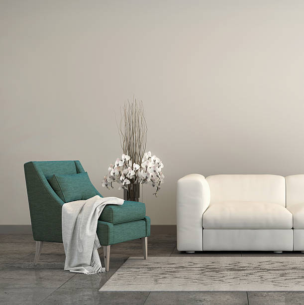 turquoise armchair with a sofa in the living room - sessel türkis stock-fotos und bilder