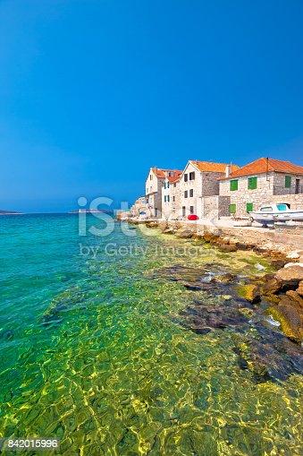 istock Turquoise beach and stone waterfront in Prvic Sepurine, Sibenik archipelago of Dalmatia, Croatia 842015996