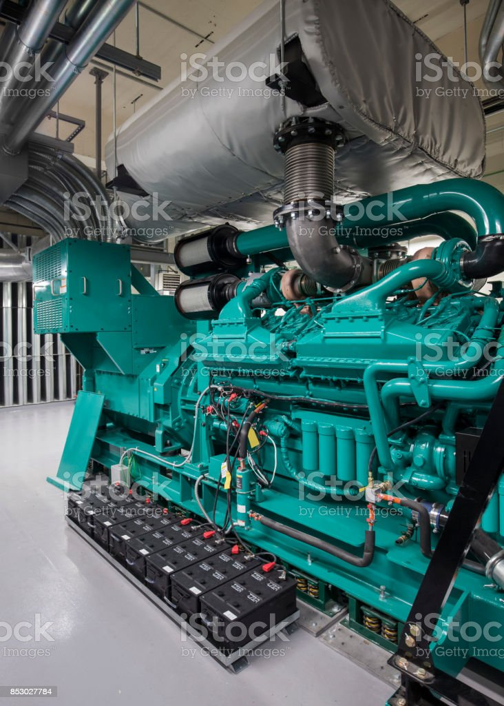 Turquoise Blue  Diesel Generator Set stock photo