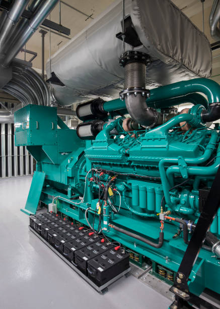 Turquoise Blue  Diesel Generator Set stock photo