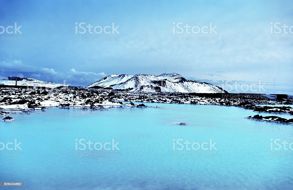 Turquoise Blue Lagoon near Reykjavik,Iceland stock photo