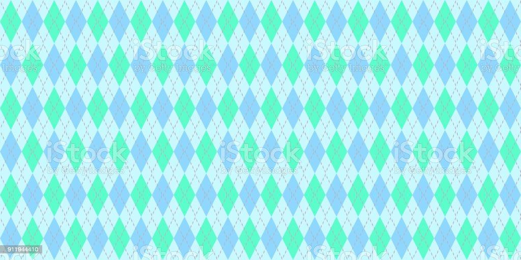 Turquoise Blue Seamless Argyle Pattern. Traditional Rhombus Diamond Textile Texture. stock photo