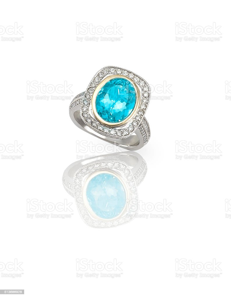 Turquoise blue topaz Cabochon Silver Fashion Ring stock photo